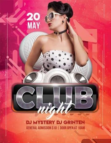 Club Night Free Flyer PSD Template