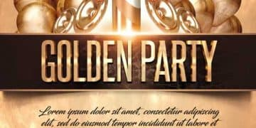 Golden Party Event Free Flyer PSD Template