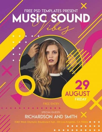 Music Sound Vibes Party Free Flyer Template