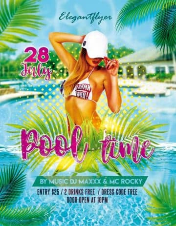 Pool Time Party Free Flyer PSD Template