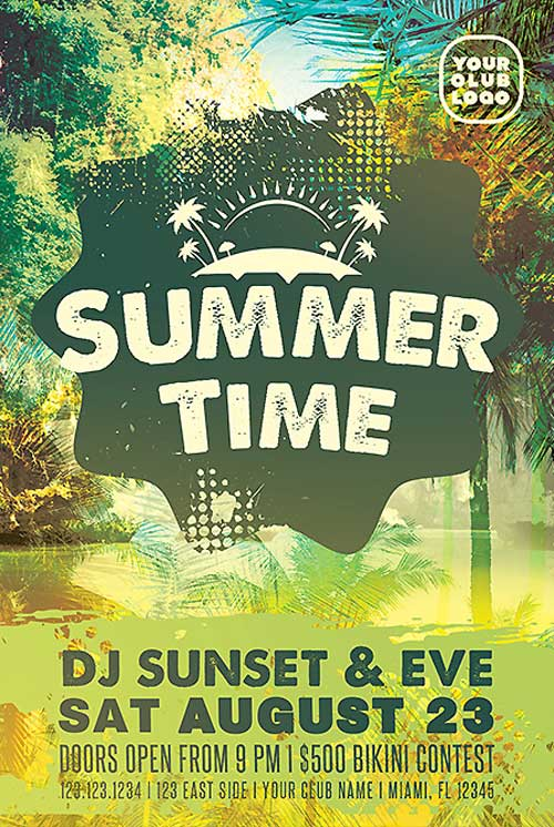 Summer Time Party Free Flyer Template