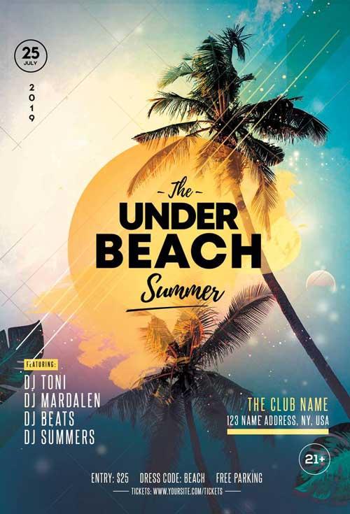 Summer Tropical Free Party Flyer Template - Freebie FreePSDFlyer
