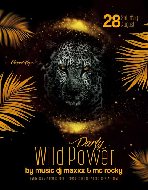 Wild Elegant Party Free Flyer PSD Template