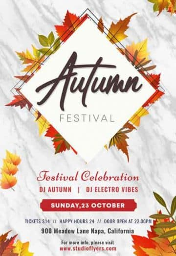 Autumn Festival Party Free Flyer PSD Template