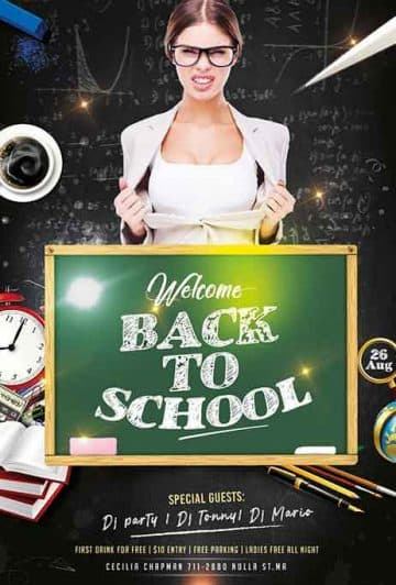 Back To School Party Event Free Flyer Template