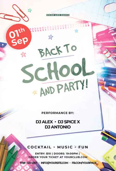 Back To School Party Free Flyer PSD Template