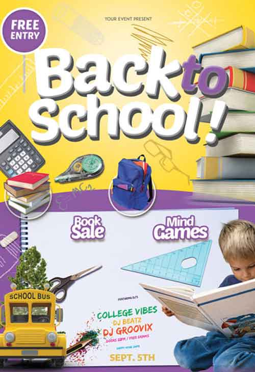 Back to School Kids Party Free Flyer PSD Template