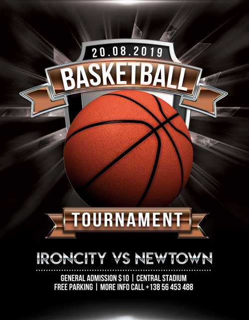 Basketball Tournament Free Flyer PSD Template