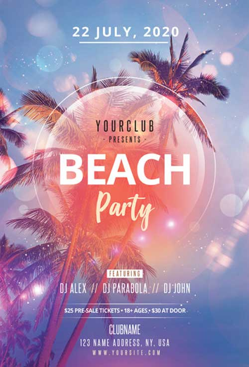 Beach Party Free Flyer PSD Template