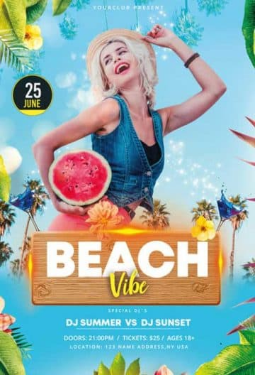 Beach Vibe Free Flyer PSD Template