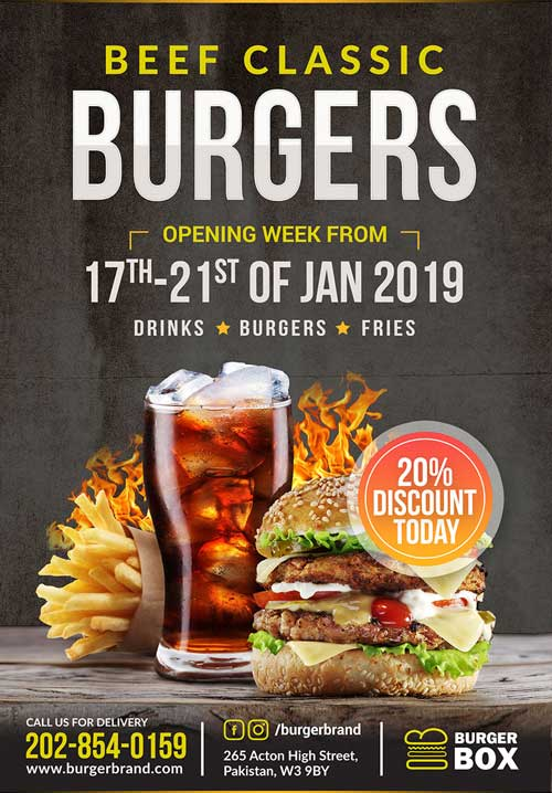 Beef Classic Burger Free Flyer Template