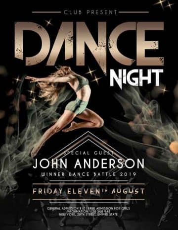 Dance Night Free Flyer PSD Template