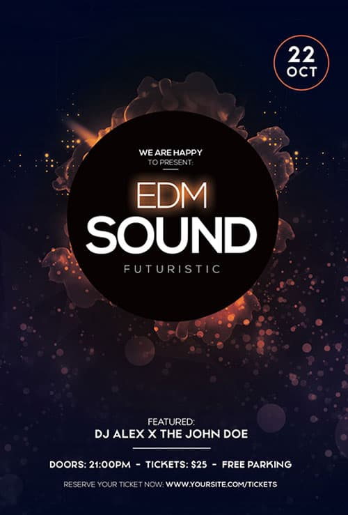 EDM Sound Party Free Flyer Template