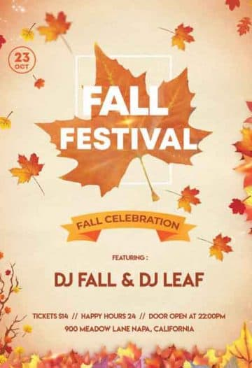 Fall Festival Event Free Flyer PSD Template