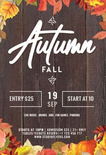 Free Autumn Fall Flyer PSD Template