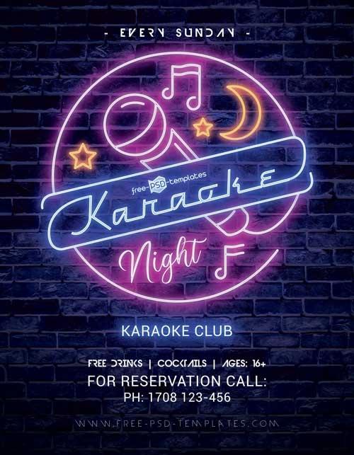 Free Karaoke Night Party PSD Flyer Template