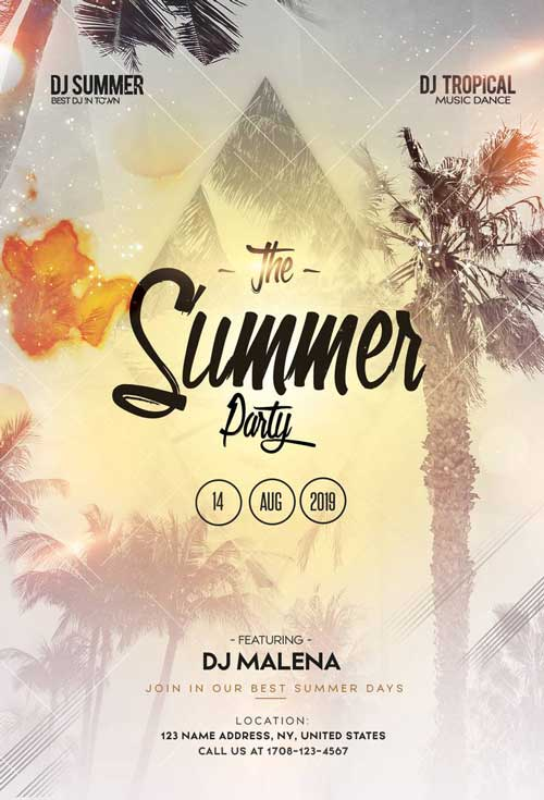 Free Summer Party Event Flyer PSD Template