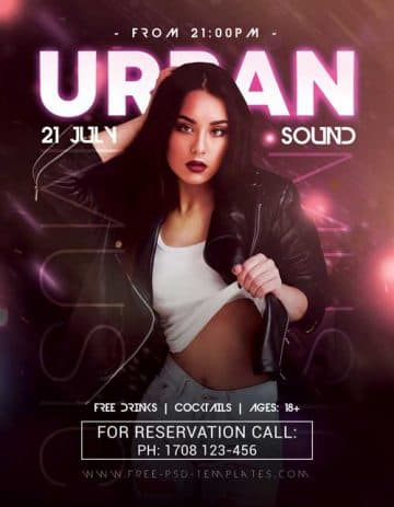 Free Urban Sound Party PSD Flyer Template