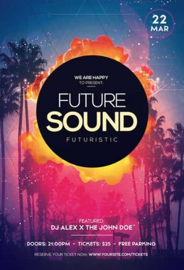 Future Sound Free Flyer PSD Template