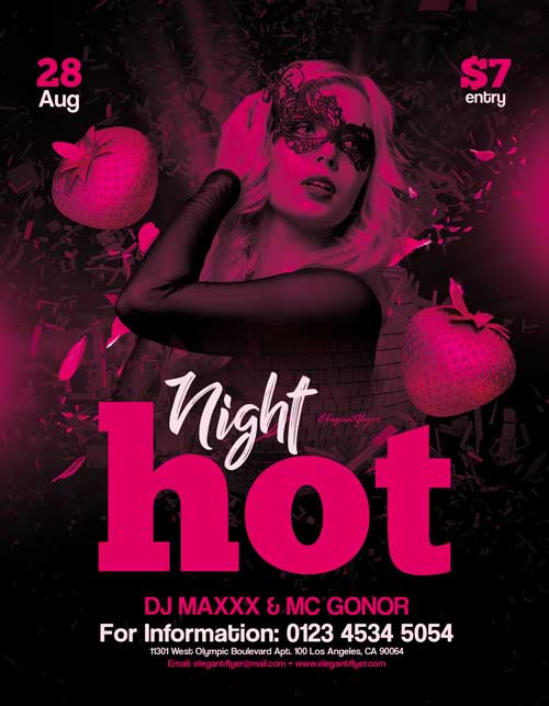 Hot Night Free Flyer PSD Template