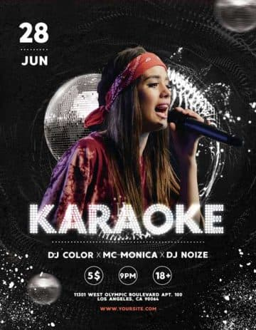Karaoke Night Free Flyer PSD Template