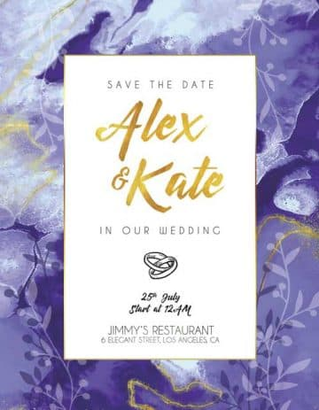 Lavender Wedding Invitation Flyer Template