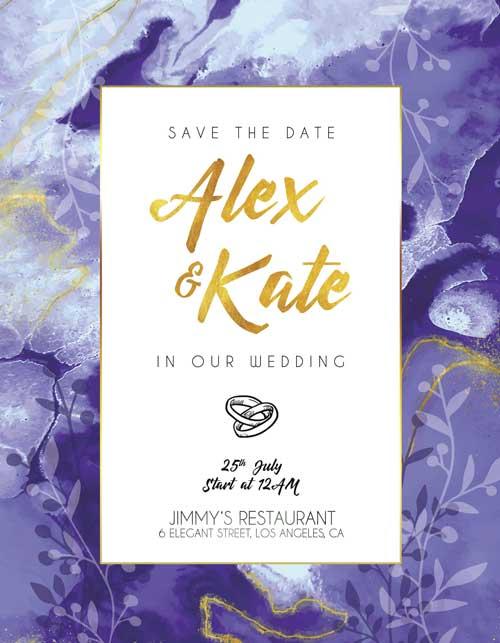 Lavender Wedding Invitation Flyer Template