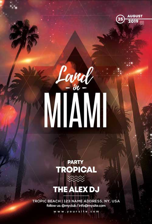 Miami Party Free Flyer Template
