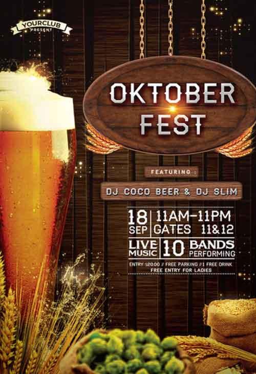 Oktoberfest Free Flyer PSD Template