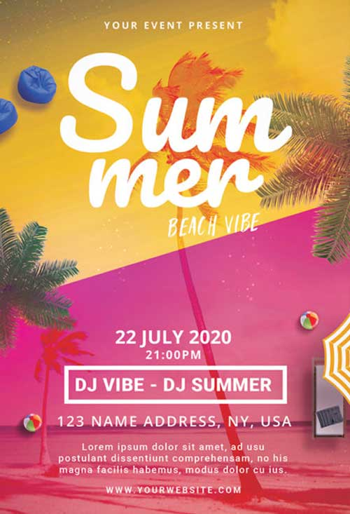 Summer Beach Vibe Free Flyer PSD Template