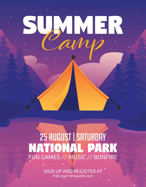 Summer Camp Vacation Free Flyer Template Freebie