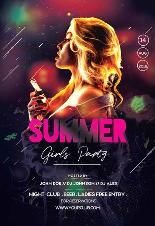 Summer Girls Party Free Flyer PSD Template