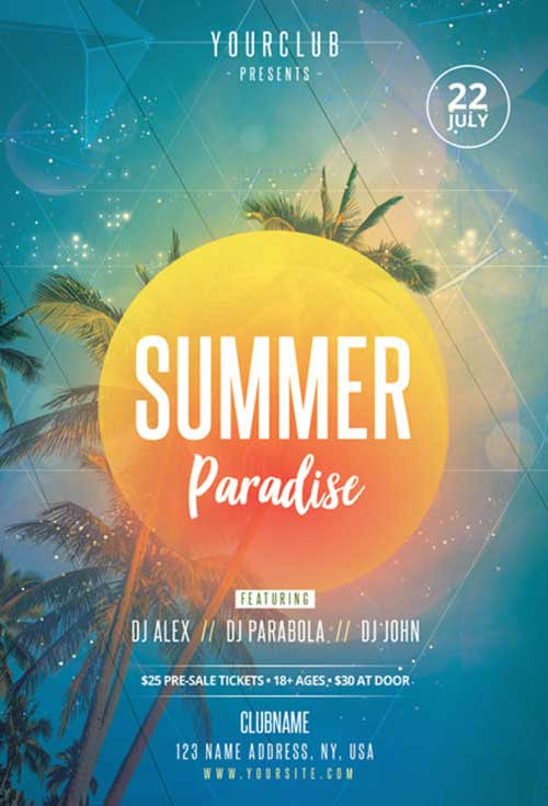 Summer Paradise Free Flyer PSD Template