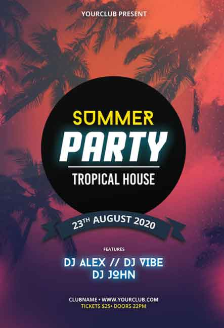 Summer Party Event Free Flyer PSD Template