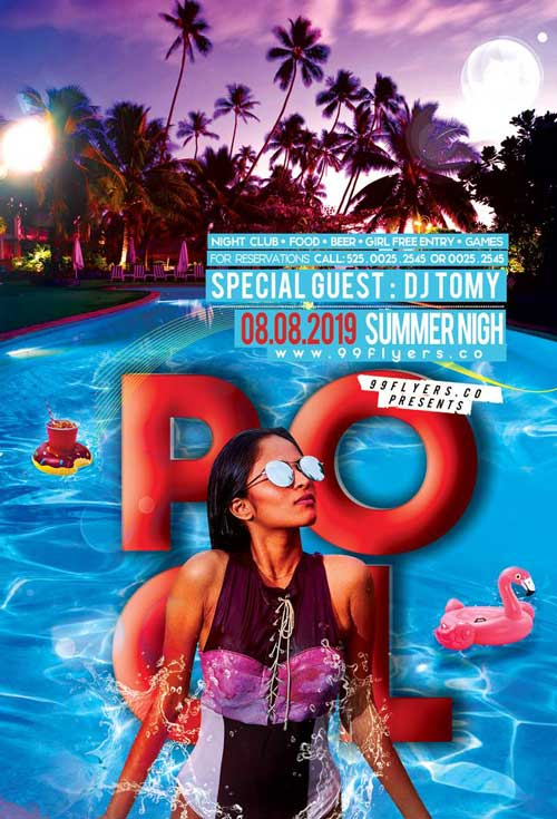 Summer Pool Night Free Flyer Template