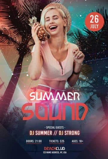 Summer Sound Free Flyer PSD Template