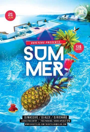 Summer Splash Party Free Flyer PSD Template