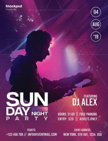 Sunday DJ Night Free Flyer Template