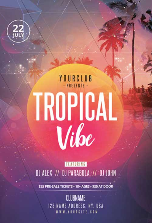 Tropical Vibe Free Flyer PSD Template