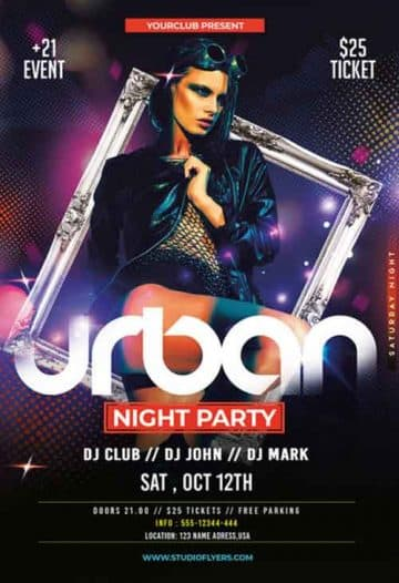 Urban Ladies Night Party Free Flyer PSD Template