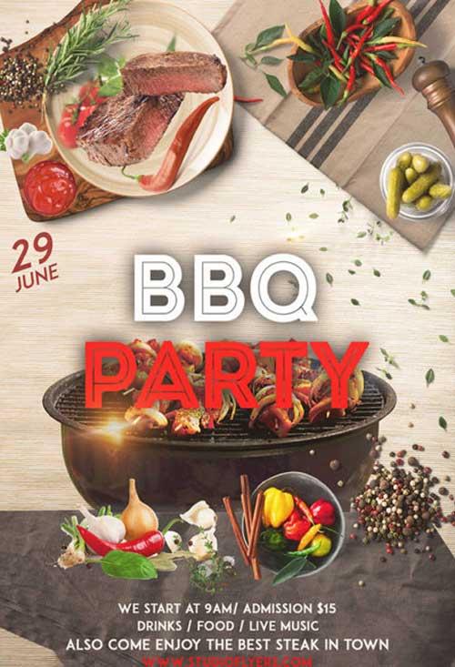 BBQ Night Free Flyer PSD Template