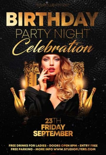 Birthday Party Night Free Flyer PSD Template