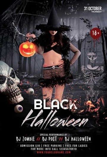 Black Halloween Free Flyer Template