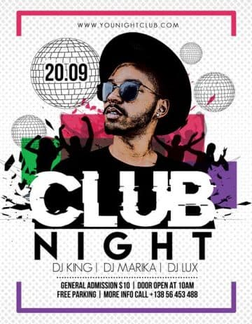 Club Night Party Event Free Flyer Template