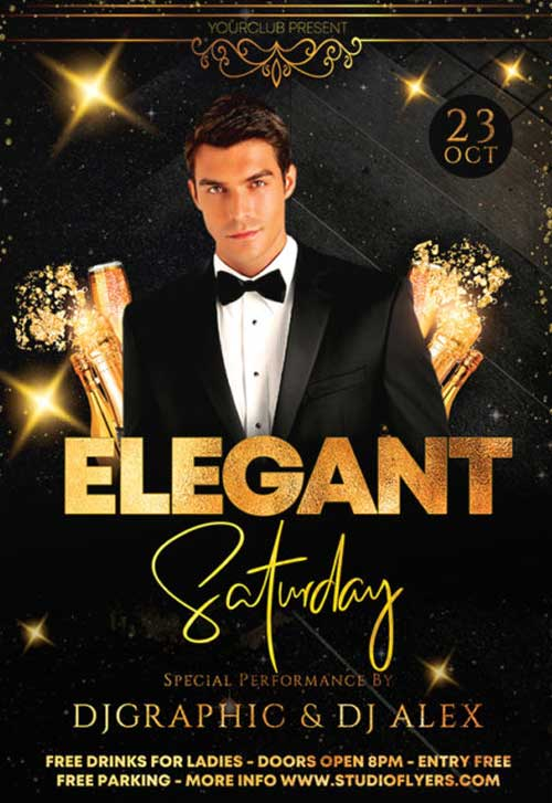 Elegant Saturday Party Free Flyer Template