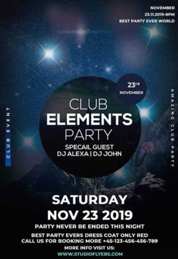Element Club Party Free Flyer PSD Template