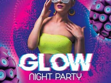 Free Glow Night Party Flyer PSD Template