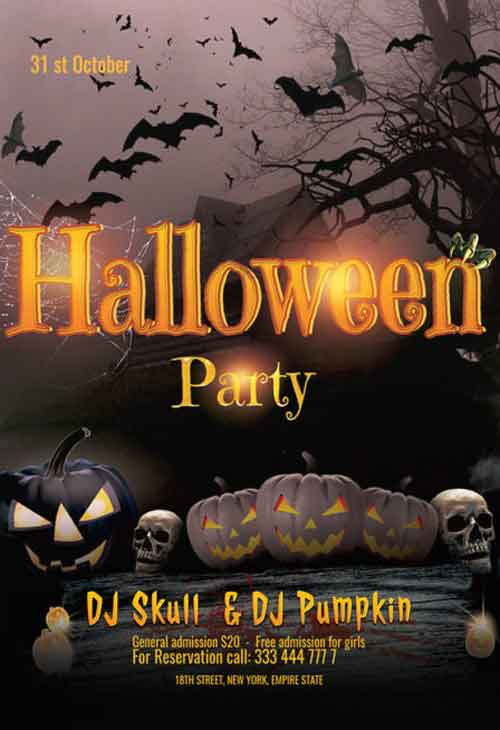 Free Halloween Celebration Party Flyer Template