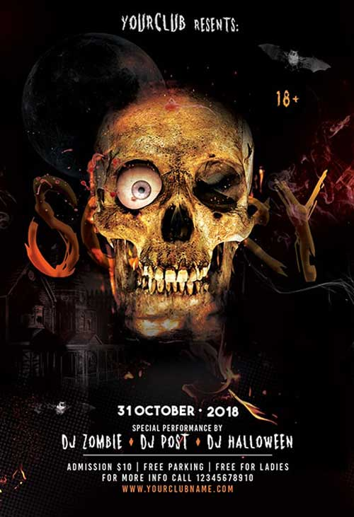 Free Scary Halloween Party Flyer Template