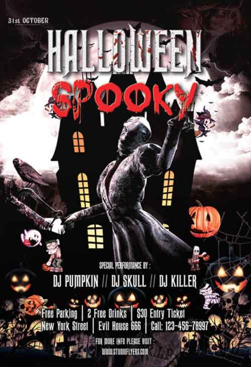 Free Spooky Halloween PSD Flyer Template